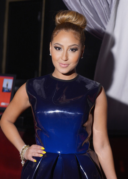 Adrienne Bailon at the OK Magazine Sexy Singles Party at Amnesia on May 21, 2012 in New York City closeup