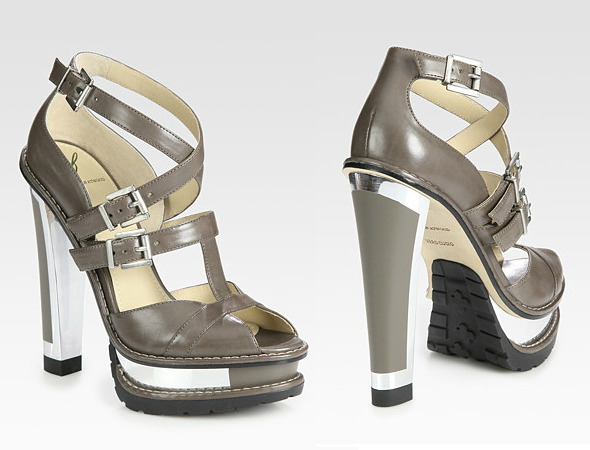B Brian Atwood Teatro Leather Platform Sandals in grey