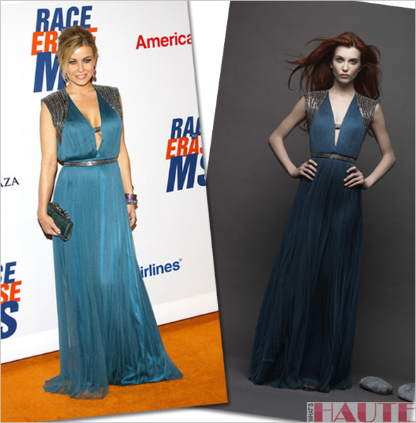 Carmen Electra in a blue Catherine Deane 'Mercia' gown at the 19th Annual Race to Erase MS Event