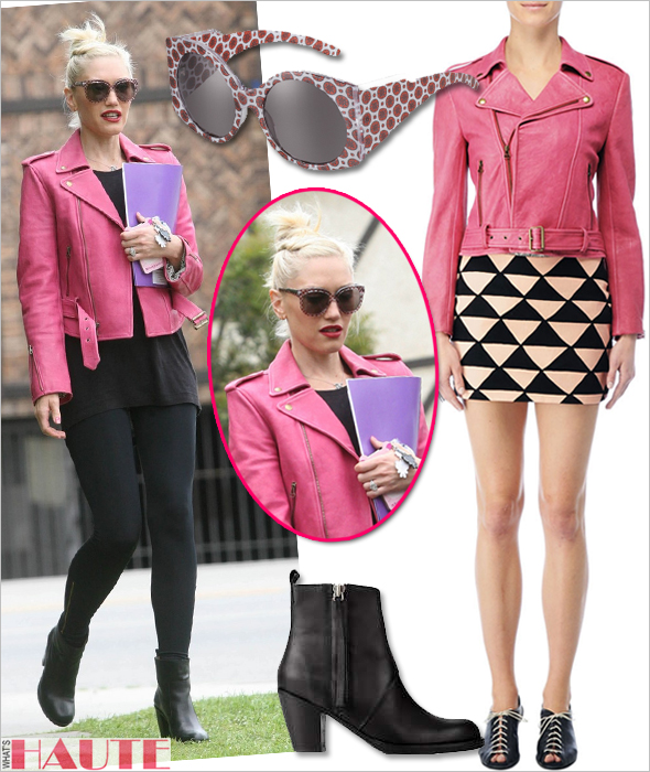 Get her haute look - Gwen Stefani in a pink Kelly Wearstler Rio Obsidium Lamb Jacket, Stella McCartney Oriental Red eco-friendly sunglasses and Acne Pistol leather ankle boots