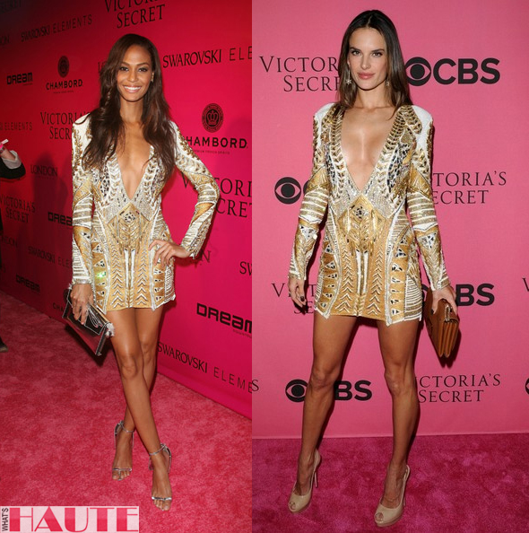 Joan Smalls & Alessandra Ambrosio Balmain Resort 2012 print dress