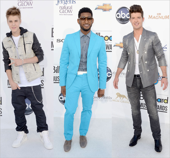 Justin Bieber, Usher and Robin Thicke at the 2012 Billboard Music Awards
