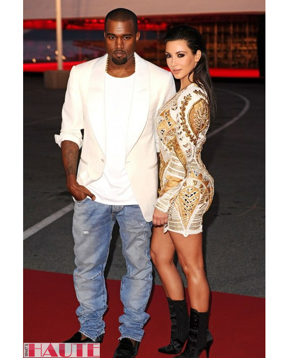 Kanye West & Kim Kardashian at Cannes in Balmain Resort 2012 print dress