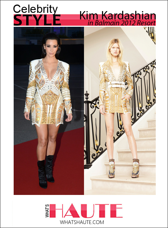 Kim Kardashian at Cannes in Balmain Resort 2012 print dress
