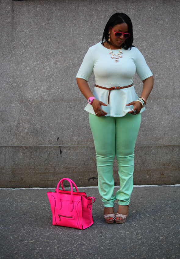 My style - mint H&M peplum top BDG jeans flouro pink Celine Luggage Tote pink sunglasses Vince Camuto sandals 1