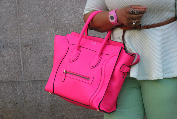 My style - mint H&M peplum top BDG jeans flouro pink Celine Luggage Tote pink sunglasses Vince Camuto sandals 2