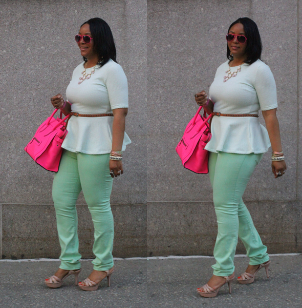 My style - mint H&M peplum top BDG jeans flouro pink Celine Luggage Tote pink sunglasses Vince Camuto sandals 5