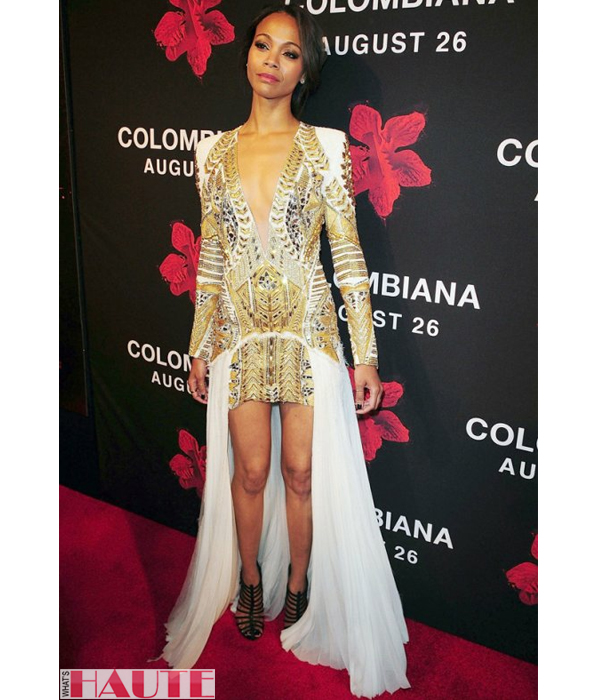 Zoe Saldana  Balmain Resort 2012 print dress