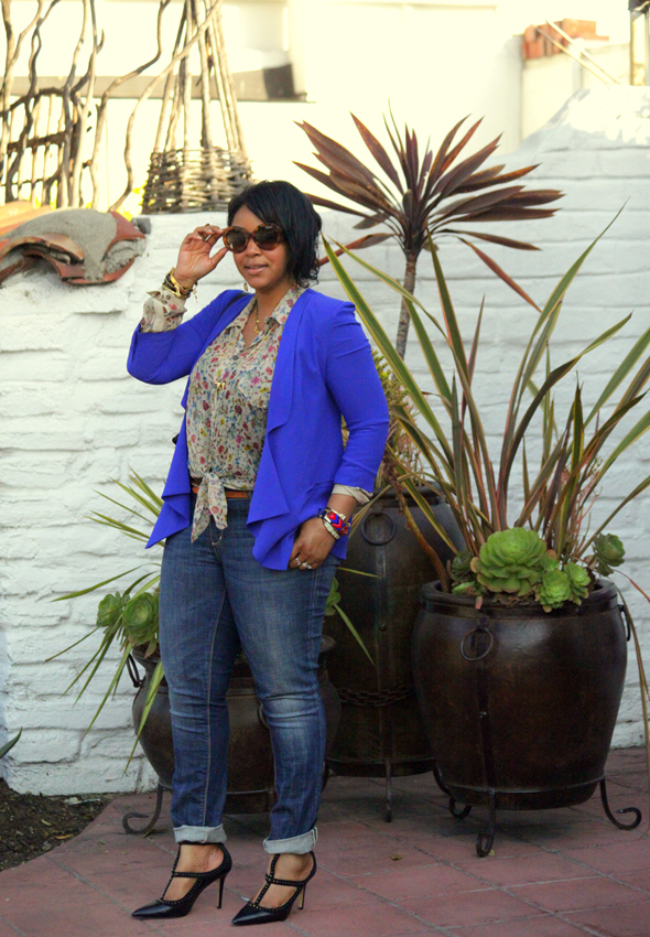 My style: Lush blazer, D&G floral print blouse, Seven7 jeans, BCBG studded T-strap pumps, Prada Baroque sunglasses, Kooba bag - What's Haute CLOSET