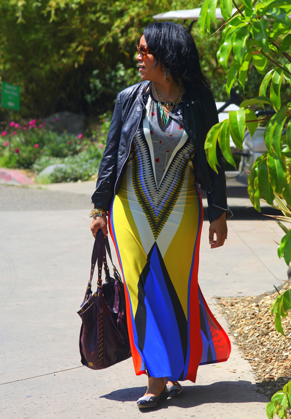 My style - Wallis Aztec printed dress, Bagatelle leather moto jacket, Jean-Michel Cazabat Nunu studded flats, Prada Baroque sunglasses, Kooba bag