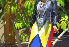 My style: Moto Aztec (Wallis print maxi dress + Bagatelle jacket + Jean-Michel Cazabat shoes)