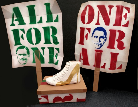 Be&D Bright Lights Big City Sneakers - Hand Gilded Artist Edition By Trong Nguyen with Obama romney shoebox