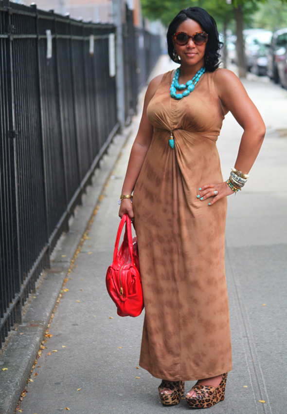 My style - Torn by Ronny Kobo tie-dye maxi dress, Steve Madden leopard print wedges, Marc by Marc Jacobs Special Salma Satchel, Soixante Neuf turquoise horn pendant necklace, Prada Baroque sunglasses