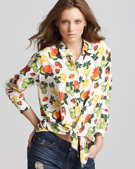 Equipment Floral Print Daddy Tie Front Blouse