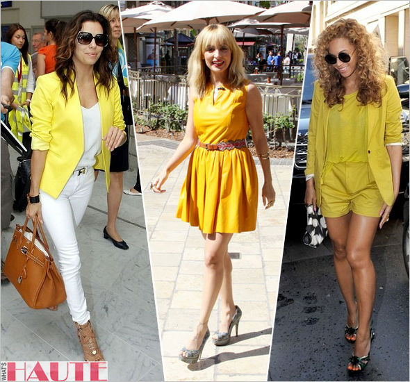 Eva Longoria Nicole Richie Beyonce - celebrities in yellow fashion