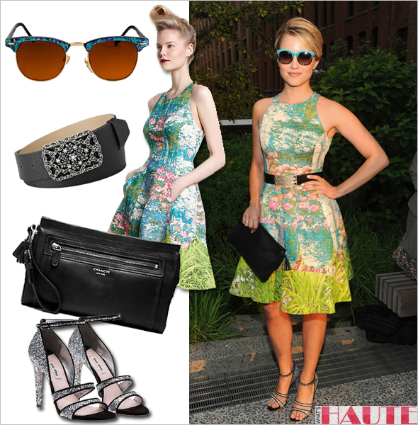 b26516694d Get her haute look - Dianna Agron Tracy Reese for Anthropologie Revisited  Impressionist Dress Miu Miu