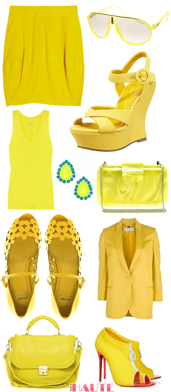 Mellow yellow - J.CREW Vintage cotton tank, Stella McCartney Shantung blazer, MARNI Twill skirt, French Connection Perspex Clutch, Barbados Tear Studs, Paul & Joe Sister Astay Satchel, Carrera Champion Aviator Sunglasses, Christian Louboutin Snorkeling 100 neoprene and leather ankle boots, Moschino Cheap and Chic Ninfea Cut-Out Flat Shoes, Alice + Olivia Canvas Wedge Sandal - What's Haute