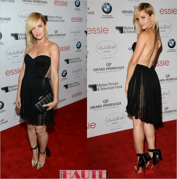 Mena Suvari in Maria Lucia Hohan black silk mousseline dress, Gio Diev Odessa I heels, Amrapali earrings and a Sethi Couture ring