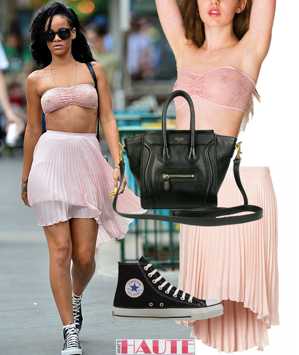 Rihanna in American Apparel Stretch Floral Lace Ruched Front Tube Bra pink Topshop Pleated Dip Back Skirt body chain yellow talon nails black Celine Nano Luggage Tote bag sunglasses black hi-top Converse Chuck Taylors