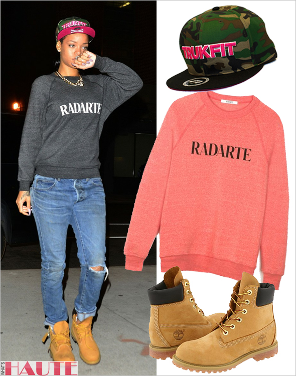 Rihanna in NYC in a Trukfit Camo hat, Rodarte for Opening Ceremony