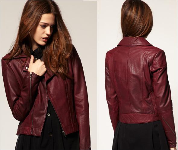 ASOS Leather Biker Jacket in burgundy red