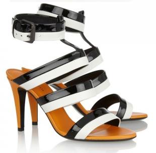 Bottega Veneta Three-tone patent & leather ankle cuff sandals - in black & white