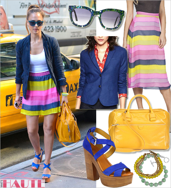 Get her haute look: Jessica Alba in Military Button Academy Blazer, Thierry Lasry Obsessy Sunglasses, Ralph Lauren Collection Alannah Suede Platform Sandals, Marc Jacobs Antonia Satchel, ElleLauri Carrie Skirt, French Kande Green Apple Jade Bracelet, Genuine Jade Beaded Bracelet