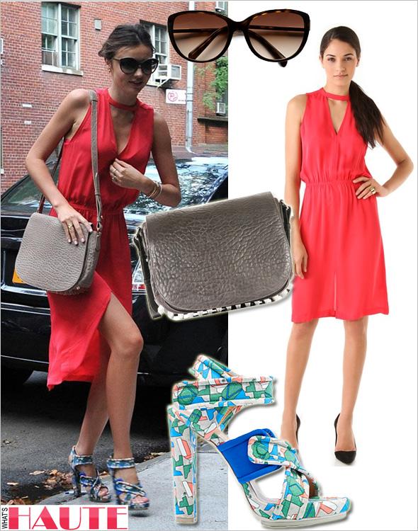 Get her haute look Miranda Kerr in Prada Cat's-Eye Sunglasses, A.L.C. Kenyatta Dress, Alexander Wang Lia Grey Velvet Messenger Bag, BALENCIAGA Platform sandals