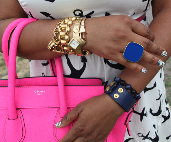 My style: Anchors Aweigh, J. Crew Dizzy Anchors dress, Celine Boston Luggage Tote bag in Fluro pink, Marchez Vous Pierrette Dot sandals, J. Crew square link, Juicy Couture charm & ASOS plug cuff gold bracelets, Pulsar gold watch, Express flat blue ring, Sally Hansen Salon Effects Real Nail Polish Strips, Fly With Me 330