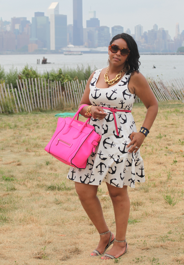 My style: Anchors Aweigh, J. Crew Dizzy Anchors dress, Celine Boston Luggage Tote bag in Fluro pink, Marchez Vous Pierrette Dot sandals, J. Crew square link, Juicy Couture charm & ASOS plug cuff gold bracelets, Pulsar gold watch, Express flat blue ring, Sally Hansen Salon Effects Real Nail Polish Strips, Fly With Me 330, What's Haute Closet