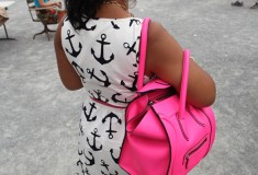 My style: Dizzy Anchors (J. Crew Anchor dress + Celine Luggage Tote + Marchez Vous sandals)