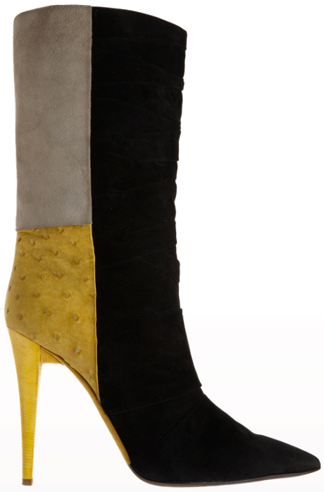 Narciso Rodriguez Ostrich Colorblock Pleated Boot