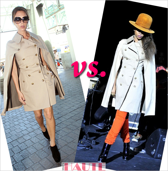 Who Rocked it Hotter: Victoria Beckham or Erykah Badu in a Junya Watanabe Comme des Garçons Cape Style Trench Coat