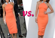Who Rocked It Hotter: Victoria Beckham vs. Jennifer Lopez in a Victoria Beckham Tangerine Stretch-Crepe Dress