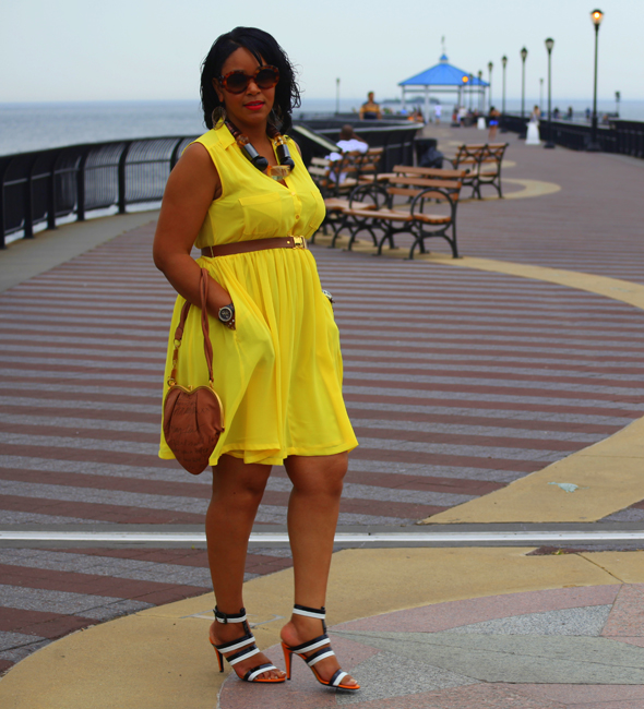 My style: yellow H&M dress & chunky resin necklace, Bottega Veneta three-tone leather sandals, Galliano Tan Leather Heart Shoulder Bag