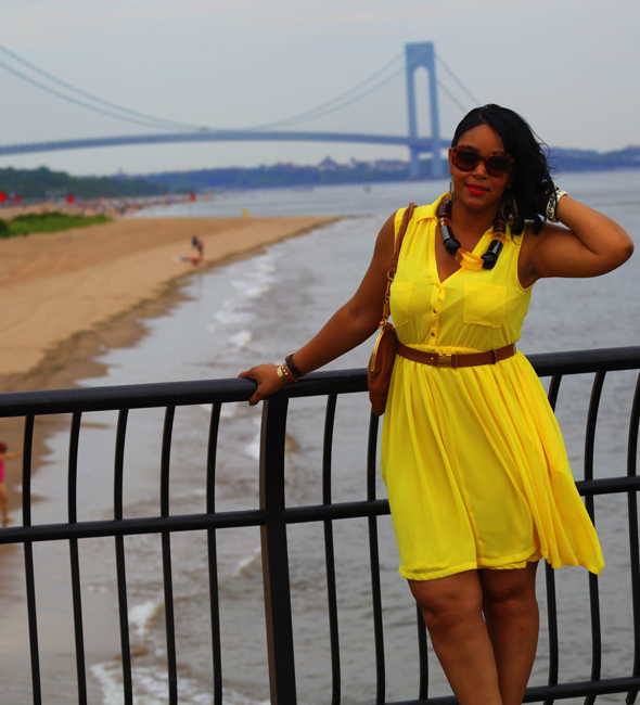 My style: yellow H&M dress & chunky resin necklace, Bottega Veneta three-tone leather sandals, Galliano Tan Leather Heart Shoulder Bag