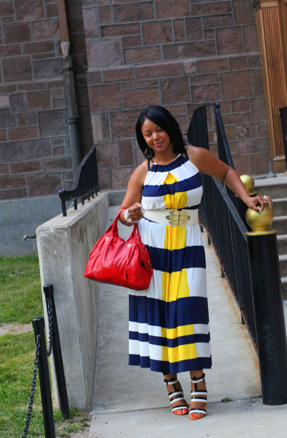 My style: Maggy London Nautical Stripe Maxi Dress, Bottega Veneta Three-tone leather sandals, Marc by Marc Jacobs Special Salma Satchel, Via Spiga belt, Topshop earrings, essie Nail Color in Turquoise & Caicos, American Apparel Neon Nail Lacquer in Neon Red