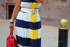 My style: Stripes & stripes (Maggy London Nautical Stripe Maxi Dress + Bottega Veneta sandals + Marc by Marc Jacobs Satchel)