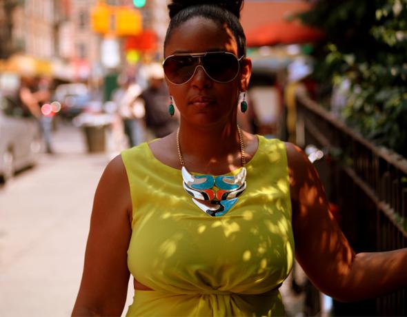 My style: Sway Chic - Neon yellow cutout blouse & Kabuki necklace + Kenneth Cole Palazzo pants + Bottega Veneta sandals