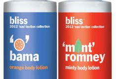 Bliss celebrates the Presidential 'eau-lection' with 'O' bama & 'Mint' Romney body lotions