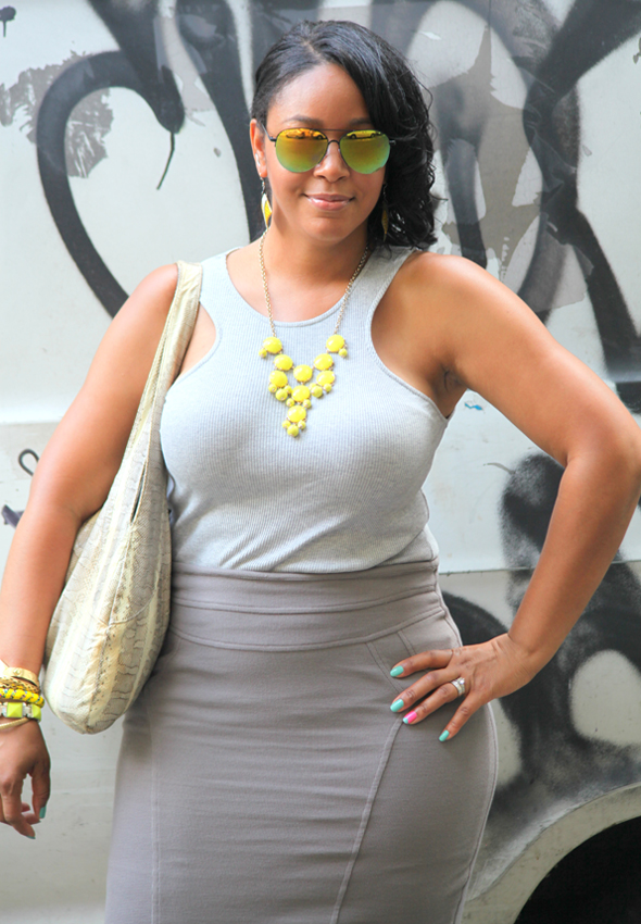 My style Shades of grey and yellow Icing mirrored sunglasses J Crew bubble necklace H&M tank Eva Franco skirt Rockport Beirn Jenna bag