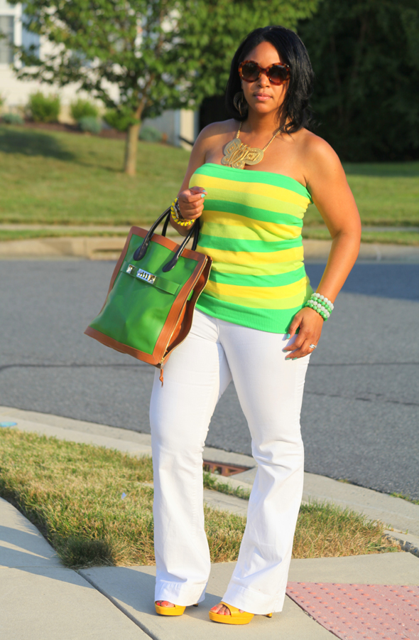 My style: alice + olivia yellow and green striped tube top, white Zara jeans, Rockport Janae Square Perforated Sandals, Proenza Schouler ps11 Capri Leather tote in green, Kenneth Jay Lane Butterfly Necklace, Prada Baroque Round sunglasses