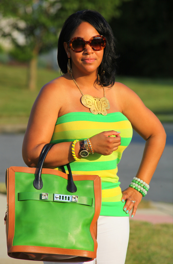 My style: alice + olivia yellow and green striped tube top, white Zara jeans, Rockport Janae Square Perforated Sandals, Proenza Schouler ps11 Capri Leather tote in green, Kenneth Jay Lane Butterfly Necklace, Prada Baroque Round sunglasses, What's Haute Closet