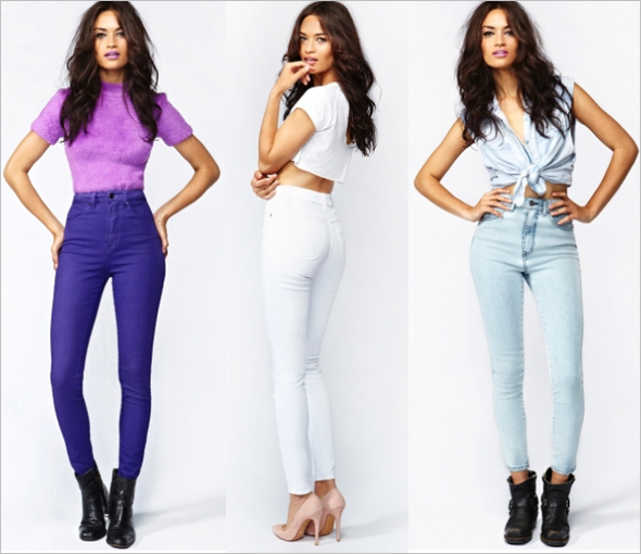 Nasty Gal 'The Kink' High Rise Jean in Reign, Glacier and Stellar