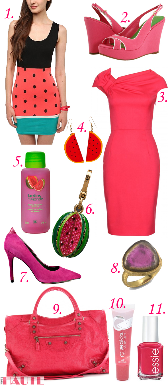 Lilly Pulitzer - Picture Perfect Espadrille, essie nail color polish, watermelon, Reverse Knit Watermelon Dress, Wendy Mink Watermelon Tourmaline Ring, Yves Rocher Brazilian Watermelon Shower Gel, CoverGirl Wetslicks Fruit Spritzers Lip Gloss, Watermelon Splash, Juicy Couture Watermelon Charm in Gold, Sam Edelman Portney - Watermelon, Vintage Hand-Painted Wood Watermelon Earrings, American Apparel, Valentino watermelon fleece wool dress with asymmetrically draped neckline, Balenciaga Giant 12 City Tote, MyTheresa, National Watermelon Day