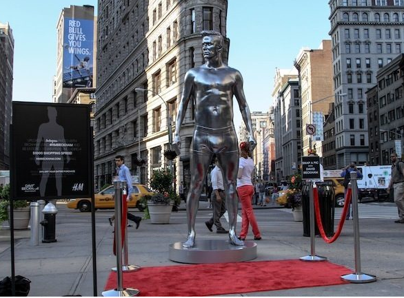 H&M promotes David Beckham bodywear collection with oversized statue