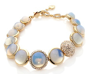 Sharon Osbourne Jewelry Collection Simulated Moonstone and Crystal Graduated Pavé Line Bracelet
