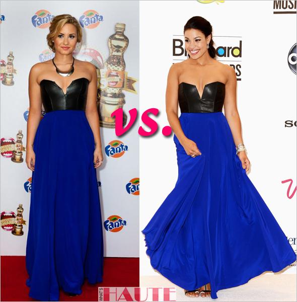 Who rocked it hotter: Demi Lovato vs. Jordin Sparks in Mason Leather Bustier Dress