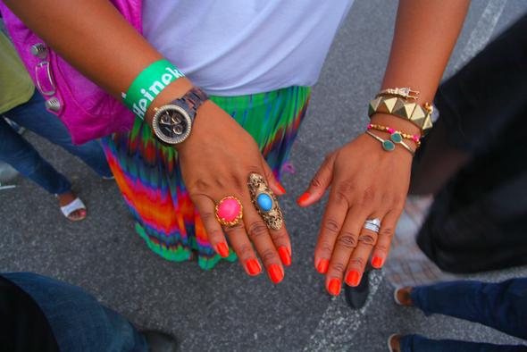 2012 Afropunk Festival in Brooklyn - my style (Joie tank, Balenciaga bag, Vince Camuto rainbow maxi skirt, Rachel Leigh Gumball ring, Topshop turquoise ring, ASOS Plug Cuff Bracelet, Ettika neon cord bead bracelet, pyramid stud bracelet)