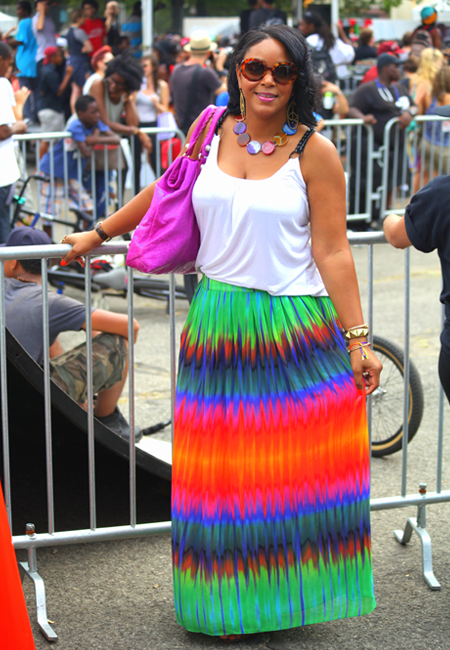 2012 Afropunk Festival in Brooklyn - my style (Joie tank, Balenciaga bag and Vince Camuto rainbow maxi skirt)